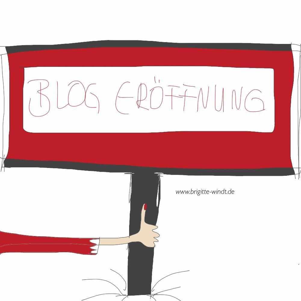 Blog-Eröffnung Selbstständigsein. Rotes Schild von weiblicher Hand  präsentiert.