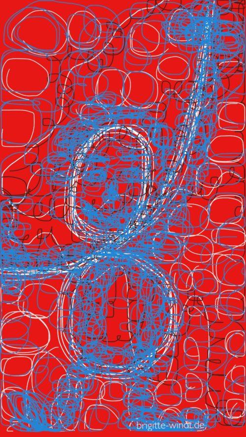Nceurotrudler rot mit blauer Gestalt - 30 Skizzen 2017 - Brigitte Windt