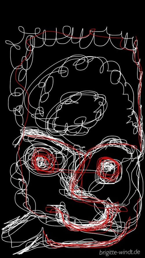 Einstrich mit rot - 30 Skizzen 2017 - Brigitte Windt
