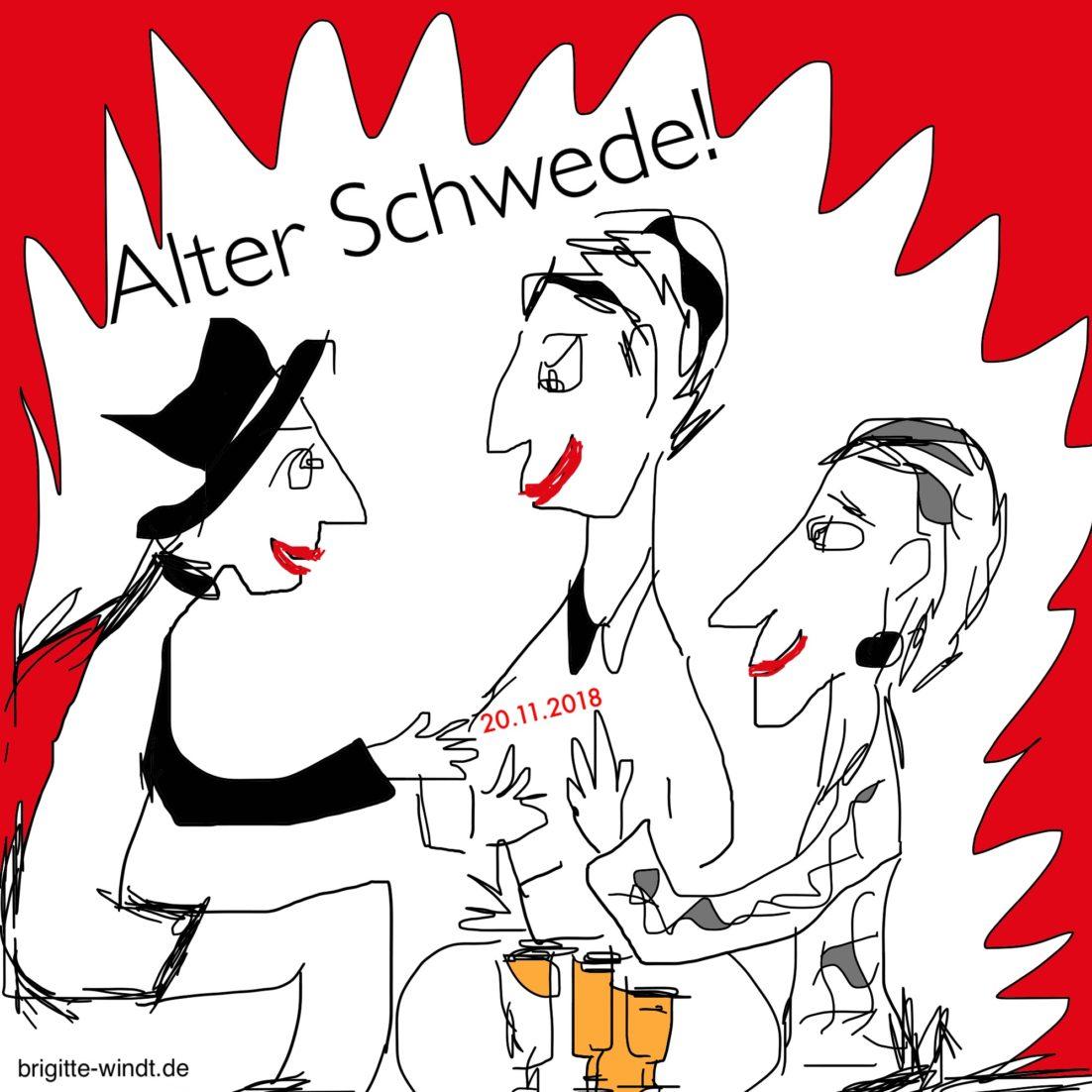ALTER SCHWEDE! Drei Frauen sitzen am runden Tisch mit drei Gläsern Bier und diskutieren. Karikatur mit schwarzer Tusche auf weißem Grund und roter symbolischer Feuerrahmung. Gezeichnet von Brigitte Windt im Kontext der Online-Gruppe 30 Skizzen im November 2018.