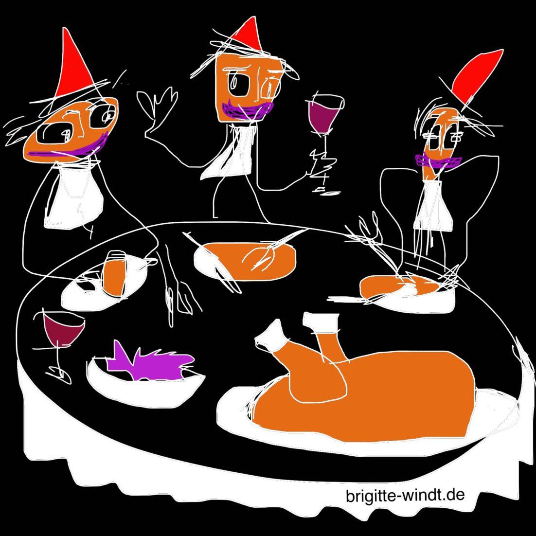 ELFTER ELFTER Brigitte Windt. Drei muntere Jecken am Tisch verspeisen Gans mit Blaukraut.