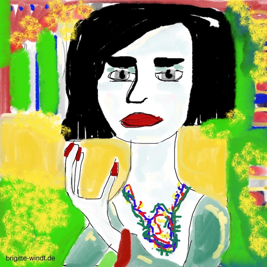 EMMY, farbintensives Porträt, Motiv ist Emmy Henningsen mit schwarzem Haar in bunter Landschaft, gemalt von Brigitte Windt im Kontext der Online-Gruppe 30 Skizzen im November 2018.
