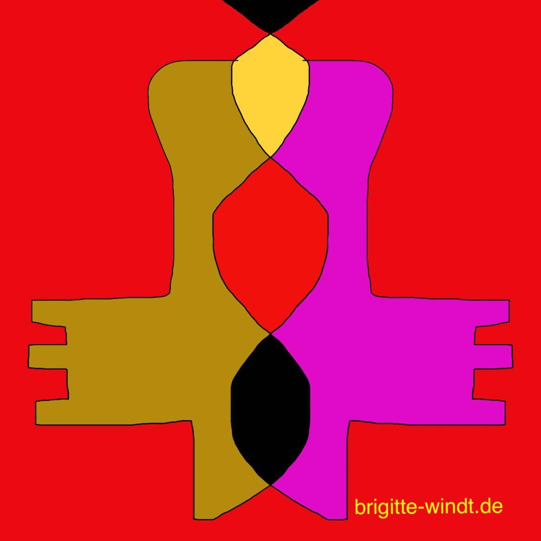 FREIKLANG Brigitte Windt. Oker, gelbe, schwarze und violette Formen auf rotem Grund.
