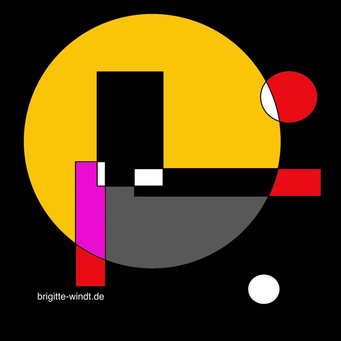 IMPÜLSCHEN Brigitte Windt. Leuchtend farbige geometrische Formen auf schwarzem Grund.