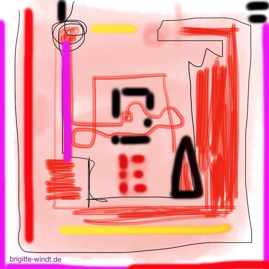 KO-SKIZZIEREN Experiment mit Pastell und Öl in rot, mit Tusche in schwarz akzentuiert am Folgetag von Brigitte Windt.