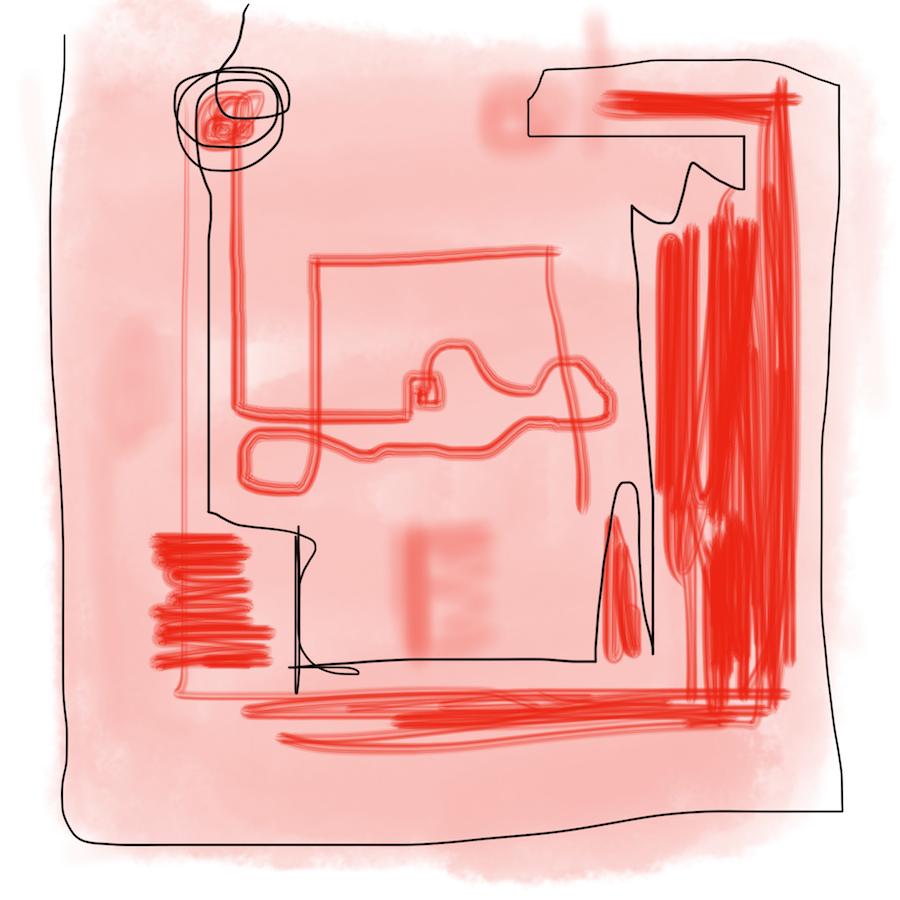 KO-SKIZZIEREN Experiment am Küchentisch mit Pastell und Öl in rot, mit Tusche in schwarz zeichnen Rita Zepf und Brigitte Windt.