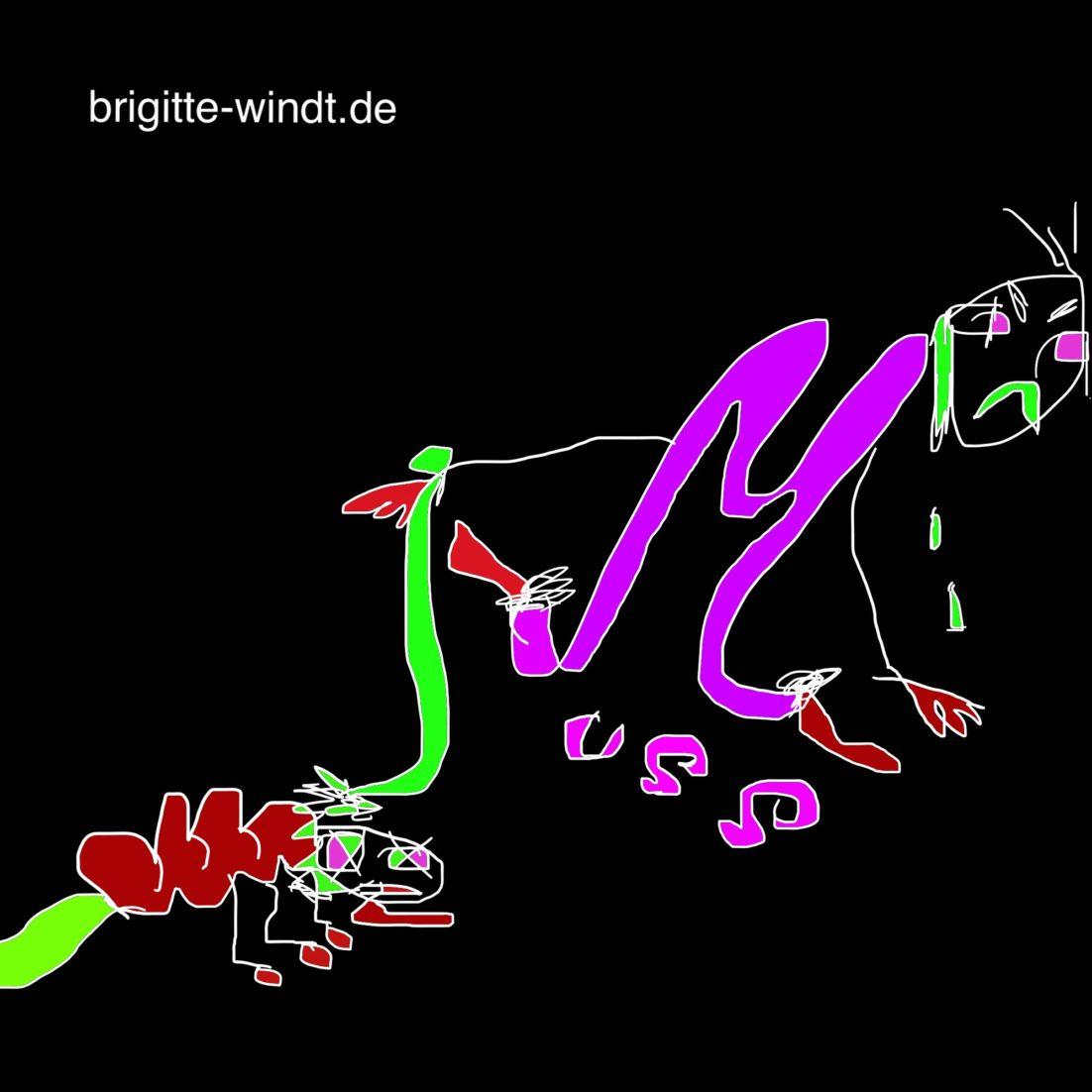 MUSS MUSS WEG Brigitte Windt. Personifiziertes violettes M mit roter Blutlaus an grüner Leine auf schwarzem Grund.