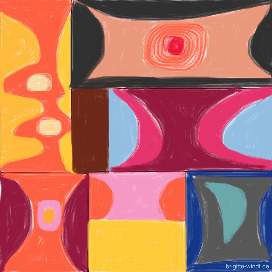 NACHMALEN Brigitte Windt. Acht farbenfrohe Rechtecke, ausgefüllt mit bunten Formen.