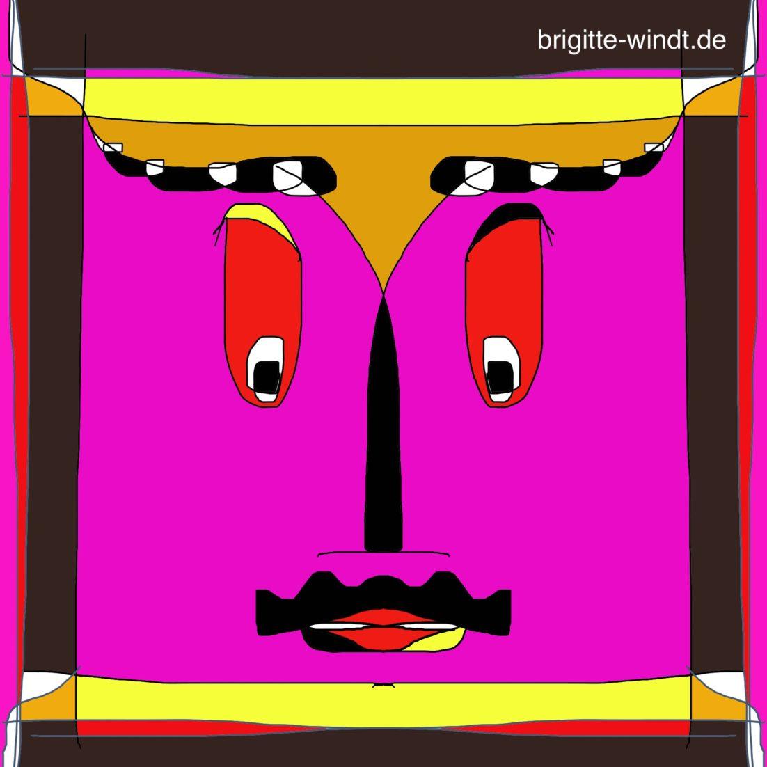 REDUKTION Brigitte Windt. Quadratflächiges Gesicht in leuchtenden Farben auf schwarzem Grund.