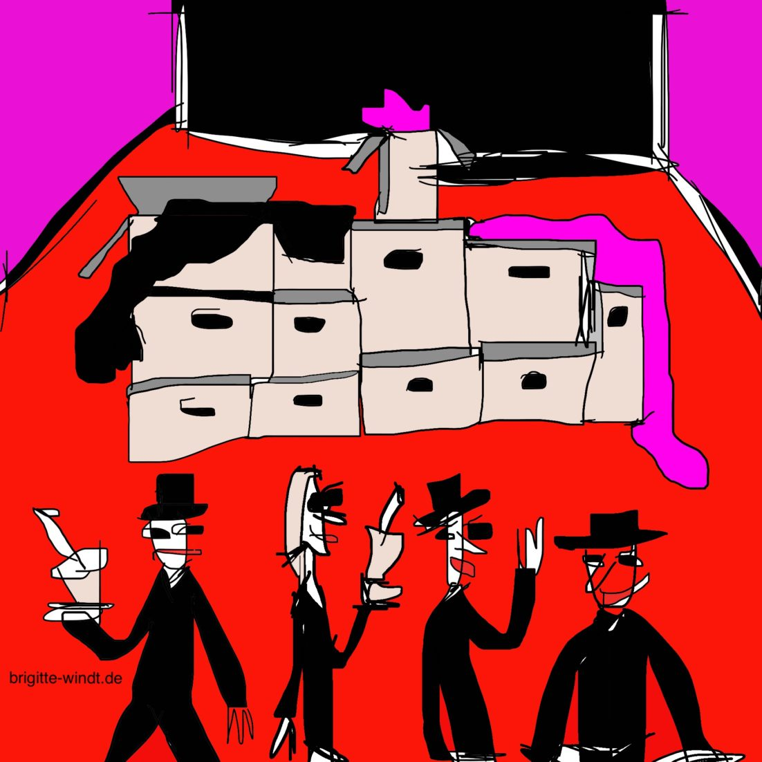 VAGES VERSPRECHEN Brigitte Windt. Umzugskisten im leeren Raum. Roter Boden. Violette Wände. Künstler beim Cocktailempfang im Atelier.